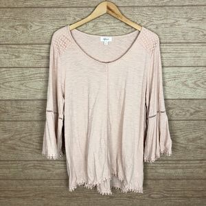 Style & Co Blush Pink Boho Flare Sleeve Top